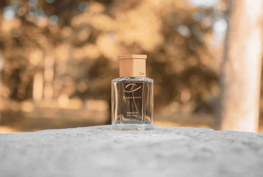 Zaharoff Signature Pour Homme bottle on rock