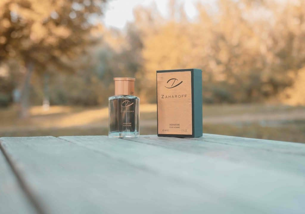 Zaharoff Signature Pour Homme bottle and box on wooden table