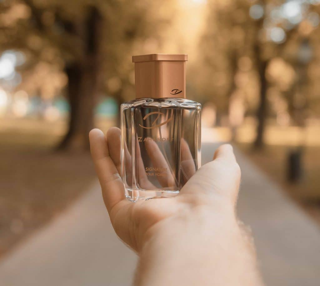 Zaharoff Signature Pour Homme on hand in forest