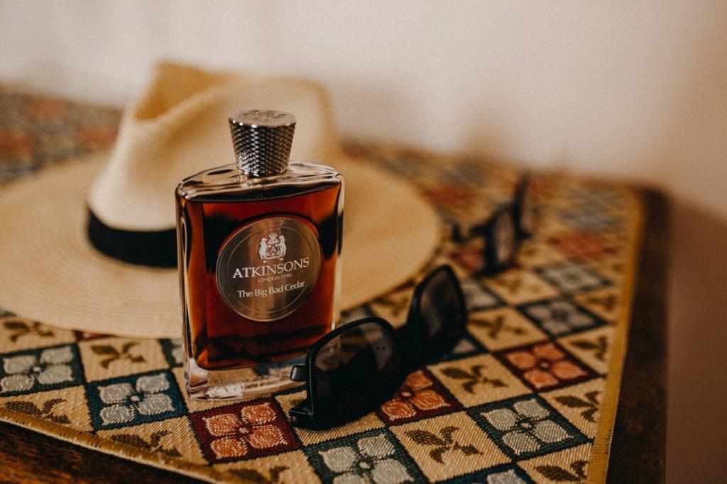 atkinsons the big bad cedar perfume on a table