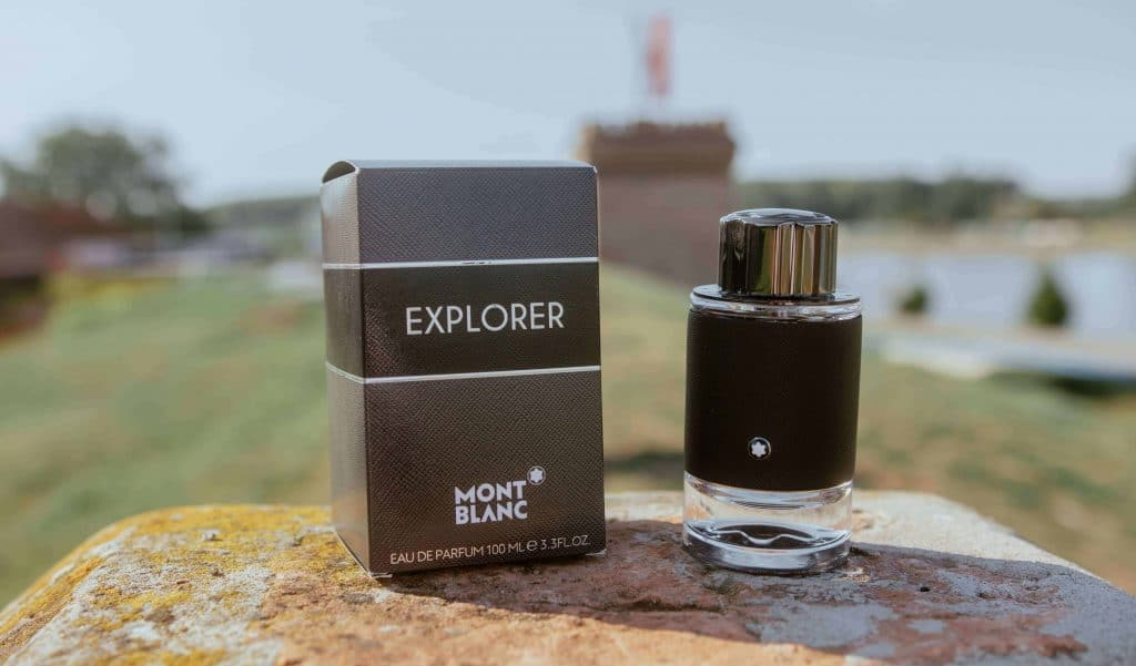 Montblanc Explorer bottle and box on a rock