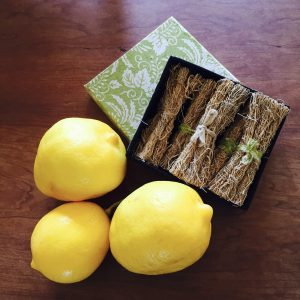 lemons and vetiver in the box