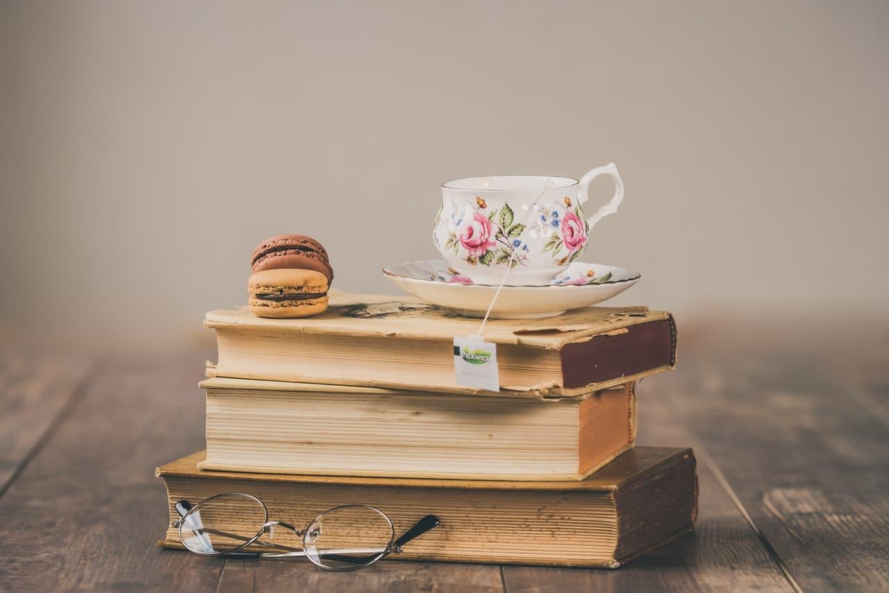 coffee on books