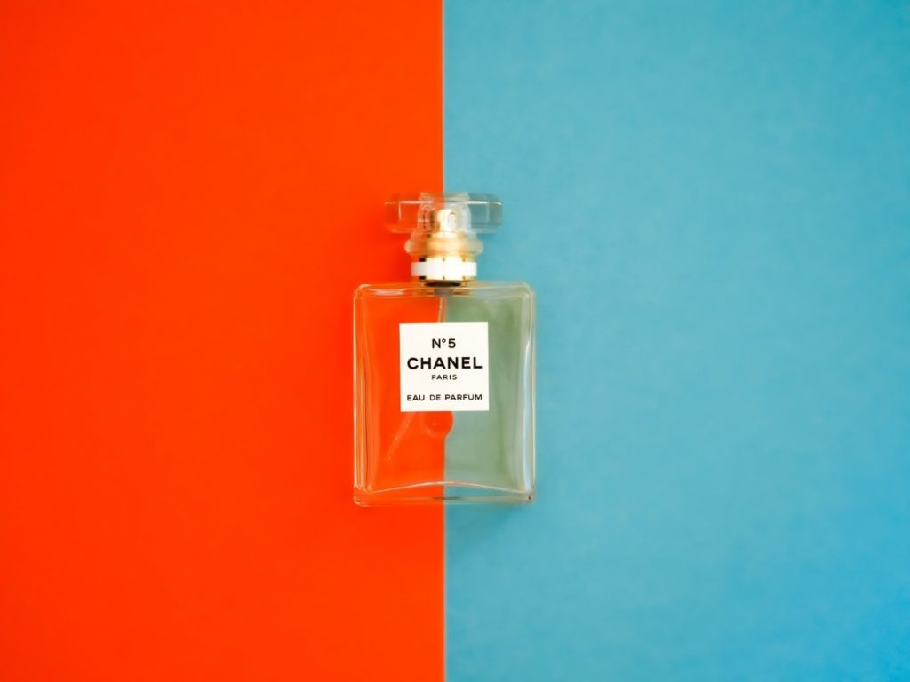 chanel no.5 on orange and blue background